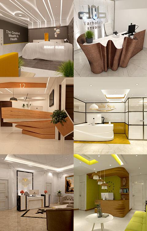 طراحی کانتر و میز منشی مطب
